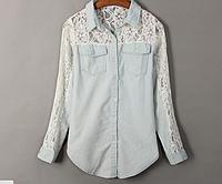 Рубашка джинсовая женская с гипюром