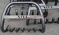Защита переднего бампера кенгурятник крашенный высокий с надписью  D60 на  Lada Niva 2121-21214