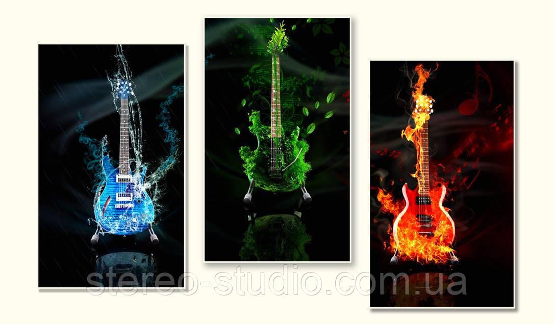 """Триптих """"Пристрасть гітари"""" - модульна картина на замовлення"""