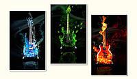 """Триптих  """"Страсть гитары""""   - модульная картина на заказ"""
