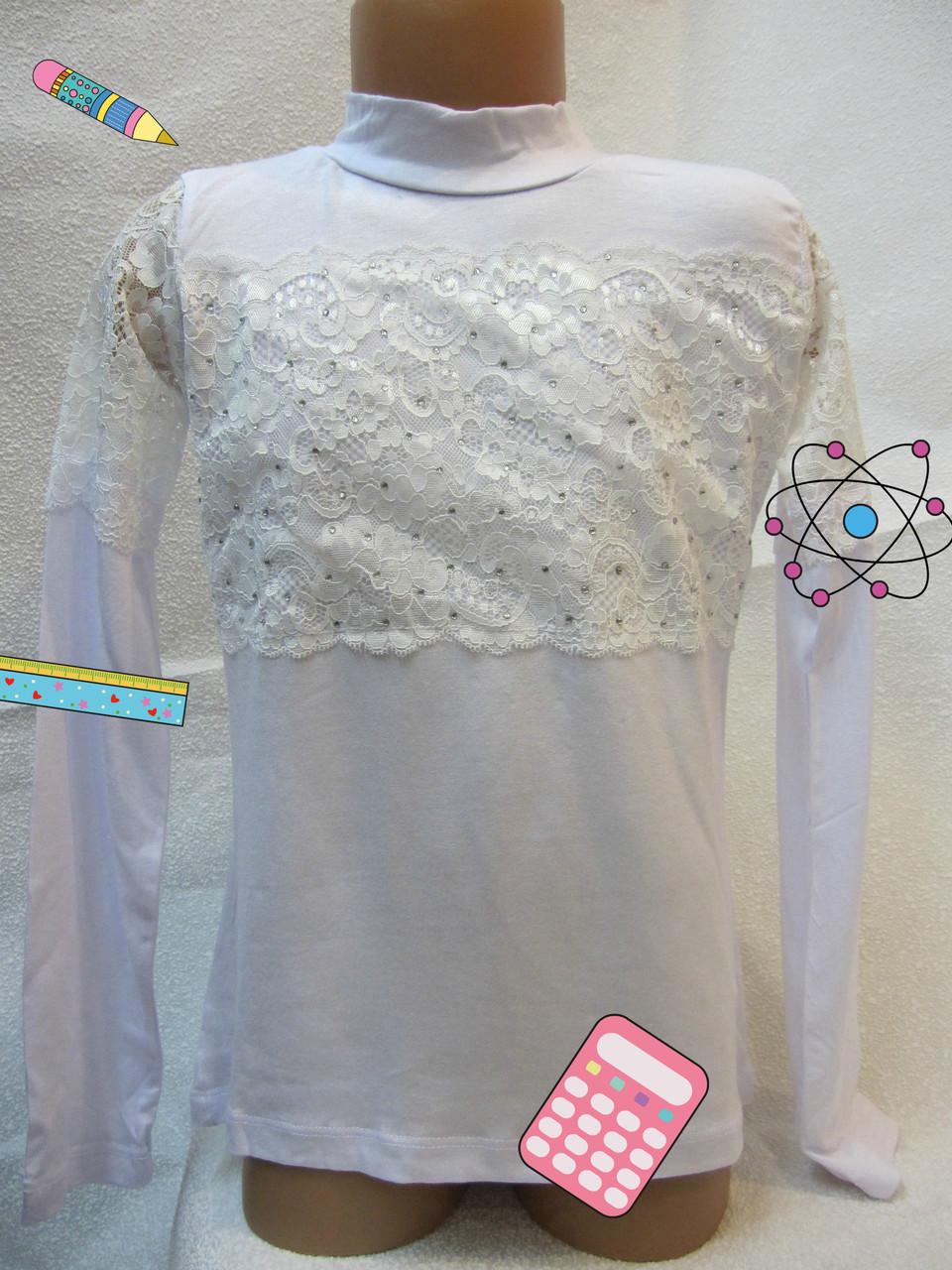 Блуза нарядная с гипюром  8,10,12,14 лет