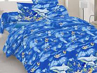 Евро комплект постельного белья синий