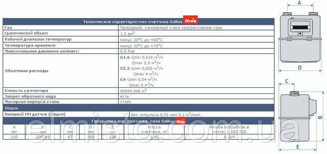 Технические характеристики газового счетчика GALLUS G