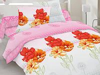 Евро комплект постельного белья розовый