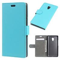 Чехол книжка для Meizu M3 mini / Blue Charm 3 боковой с отсеком для визиток и отверстием под динамик, Голубой
