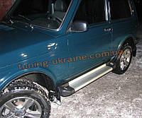 Пороги площадка алюминиевые  с подсветкой на  Lada Niva 2121-21214