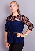 Тамара. Блуза женская супер батал. Синий.