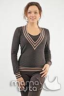 Джемпер Джил для беременных и кормящих мам шоколад-С