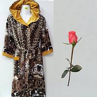 Женский велюровый халат с леопардовым принтом   Т 771057