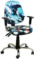 Кресло детское  Бридж хром дизайн дельфины