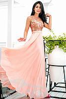 Великолепное вечернее женское платье в пол с вышивкой на лифе без рукавов шифон