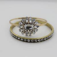 Стильные металлические женские браслеты на руку с камнями