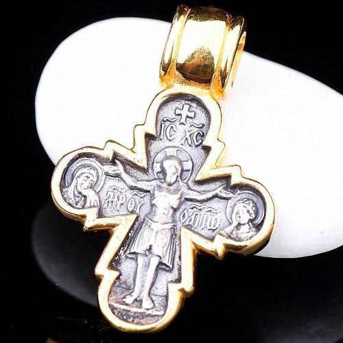 Серебряный  крест  «Распятие с предстоящими. Божия Матерь Оранта» 34591