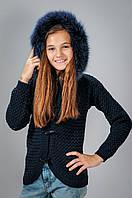 Детская вязаная кофта с опушкой для девочки
