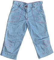 Джинсы-капри для девочки, светло-синие с розовой строчкой, рост 128 см,  Одягайко