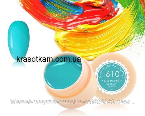 Гель-краска Canni 610 голубая-бирюза