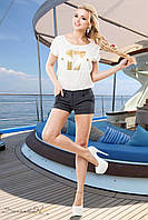 Короткі жіночі шорти з стрейч-тіара 42-48 розміри, фото 1