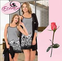 Женский халат в комплекте с ночной рубашкой Т  776332