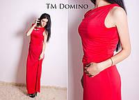 Женское красное платье в пол без рукавов