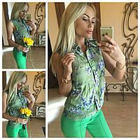 Блузка женская штапельная С цветами