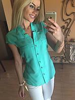 Блузка женская штапельная Мятная