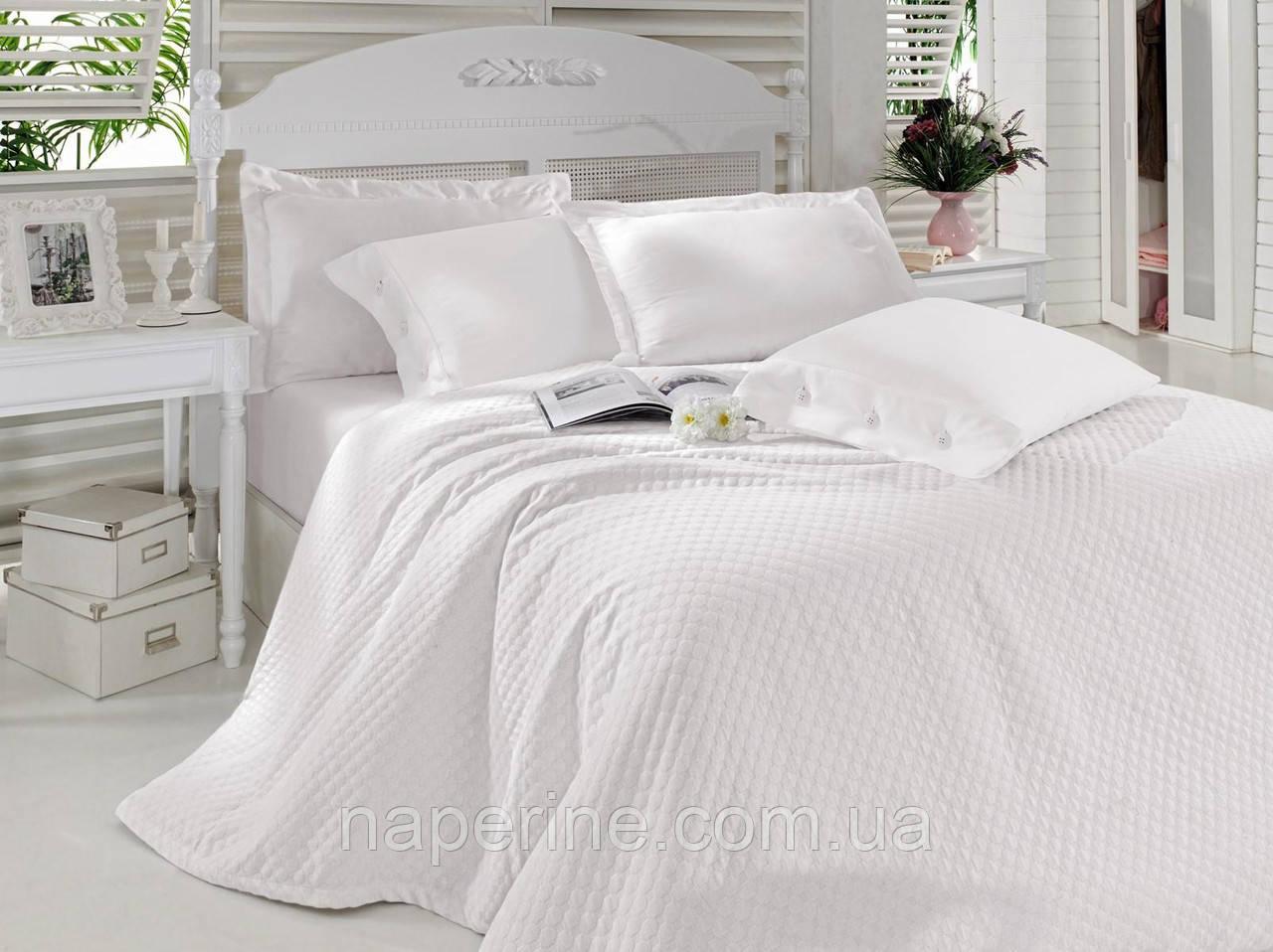 Постельное белье с покрывалом Cotton box Сатин пике Beyaz white