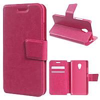 Чехол книжка для Meizu M3 mini / Blue Charm 3 боковой с отсеком для визиток, Гладкая кожа, Розовый