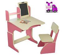 Парта с мольбертом растущая + стульчик,Финекс  розовая