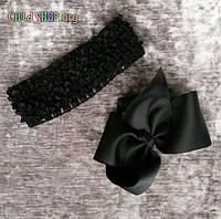 Повязка на голову для девочек плетеная с большим бантом / Код товара HYS25-3#