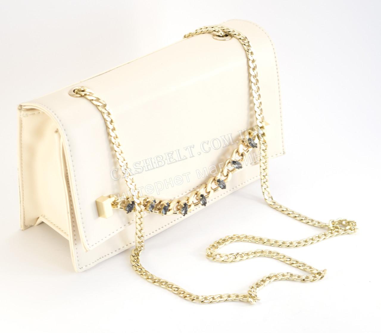Красивый клатч-сумка светлого цвета с цепочкой и стразами Б/Н art. 433