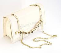 Красивый клатч-сумка светлого цвета с цепочкой и стразами Б/Н art. 433, фото 1