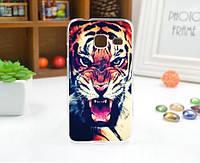Чехол силиконовый бампер для Samsung J1 mini Galaxy J105 с рисунком Тигр, фото 1
