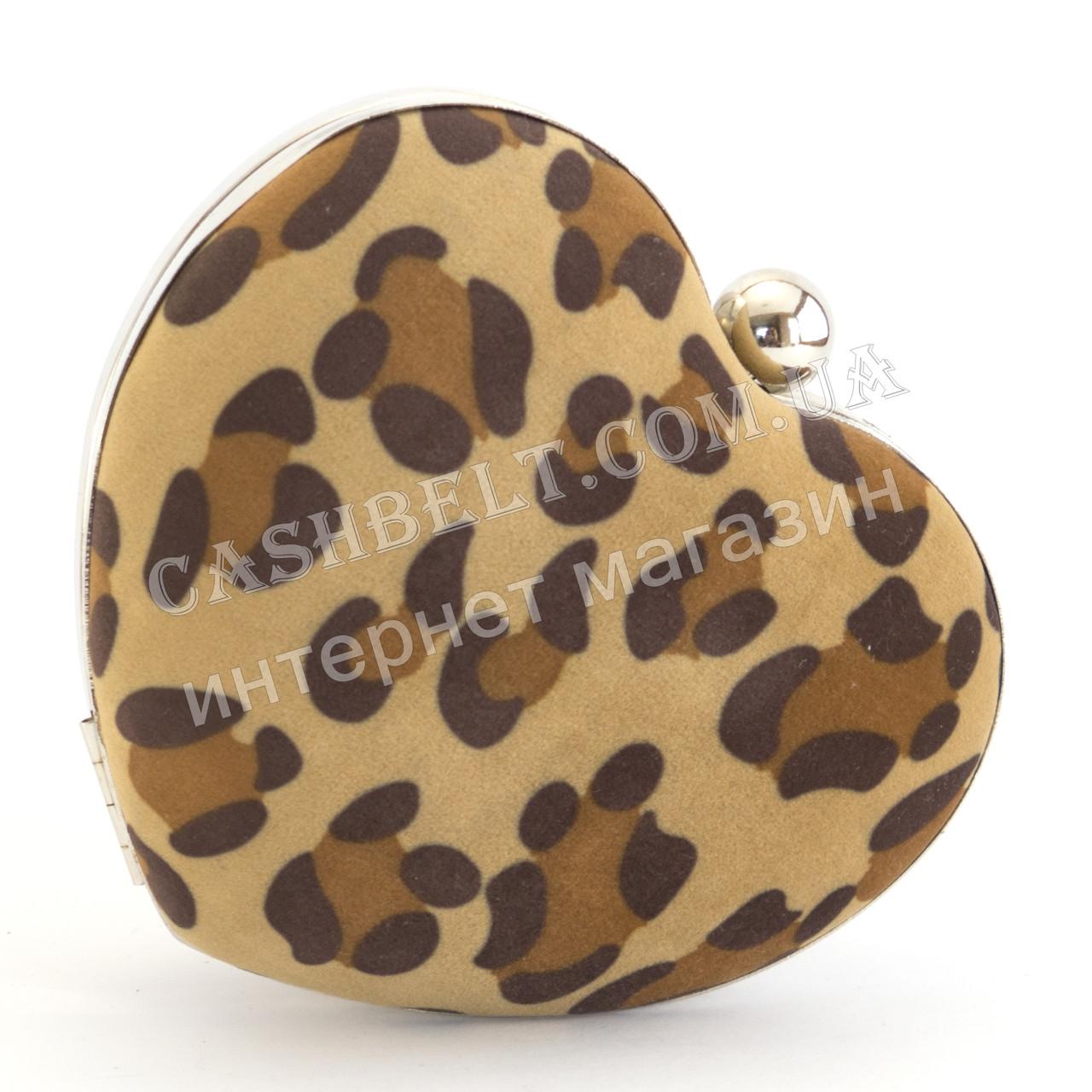 Маленький клатч в форме сердца с тканевой обивкой леопардового узора ROSE HEART art. 10304