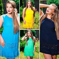 Модное женское платье мини с рюшей батал / Украина / хлопок+шёлк