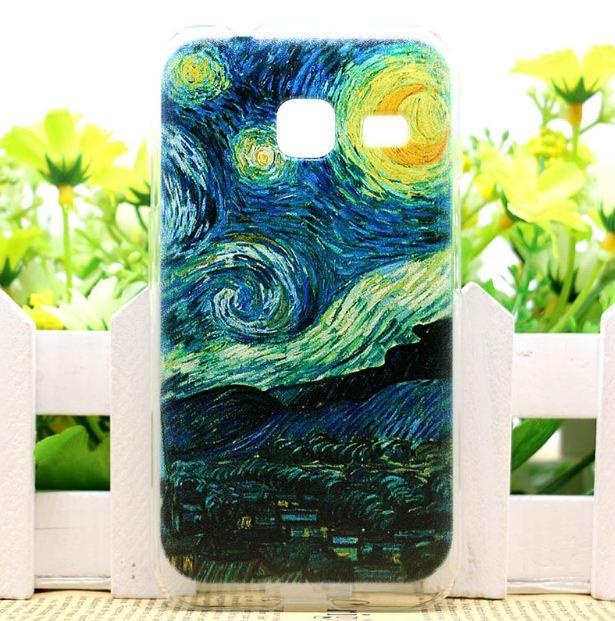 Чехол силиконовый бампер для Samsung J1 mini Galaxy J105 с рисунком Лунная ночь