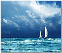 Кафель панно Лодка в море, плитка 20х30см.
