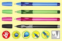 Ручка для первоклассника stabilo leftright для правши синяя