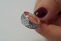 Ажурное серебряное кольцо с цирконами
