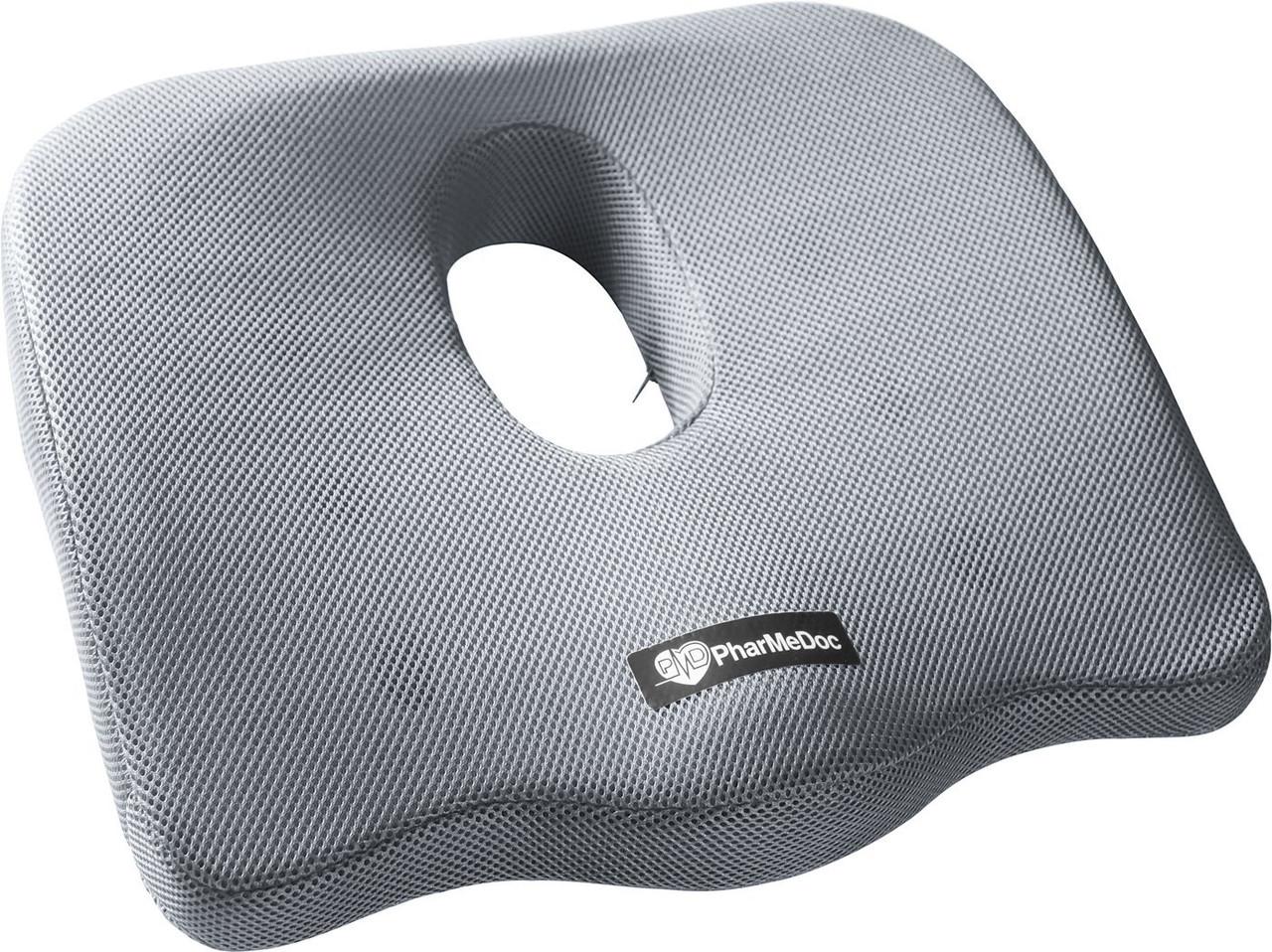 Ортопедическая подушка PharMeDoc Coccyx Seat Cushion для сидения, серая.
