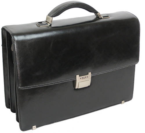 Мужской вместительный  кожаный портфель с отделом под ноутбук VERUS 120A черный