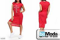 Оригинальное женское платье трикотажное Glorymax cross red с ассиметрией по краю низа и стразами впереди красное