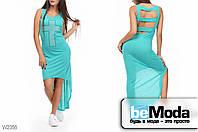 Модное женкое платье Glorymax cross green оригинального кроя с декором из страз и вырезами на спинке бирюзовое