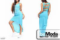 Модное женкое платье Glorymax cross l.blue оригинального кроя с декором из страз и вырезами на спинке  светло-голубое