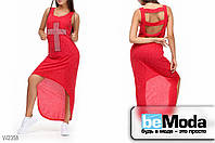 Модное женкое платье Glorymax cross red оригинального кроя с декором из страз и вырезами на спинке  красное