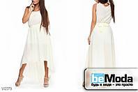 Нарядное женское шифоновое платье Glorymax Milk с удлиненной спинкой и тонким пояском бежевое