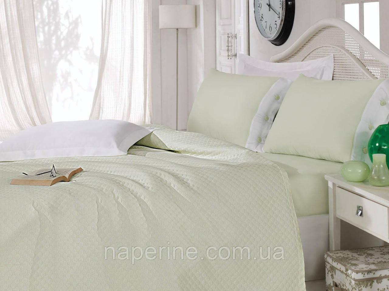 Постельное белье с покрывалом Cotton box Сатин пике Yesil green