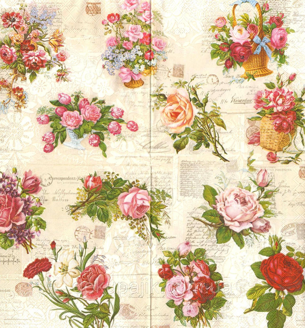 Декупажная салфетка Винтажные розы 5914