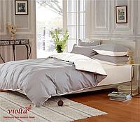 Комплект постельного белья, семейный, сатин, серый белый, однотонный