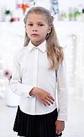 """Нарядная белая школьная блуза с длинным рукавом """"2001""""."""