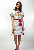 Платье вышиванка с коротким рукавом на льне